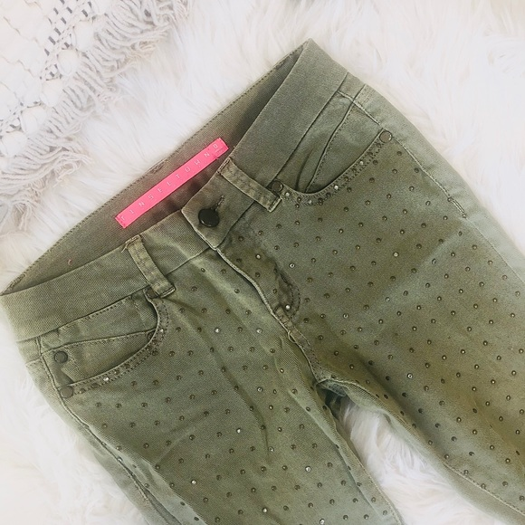 Anthropologie Denim - Anthropologie army green beaded jeans